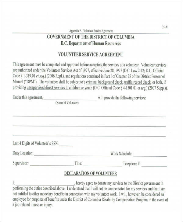 Form Volunteer Agreement Template