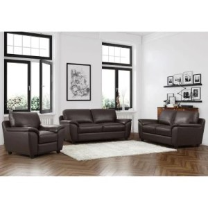Leather Furniture   Sam s Club Mavin Top Grain Leather Sofa  Loveseat and Armchair Set