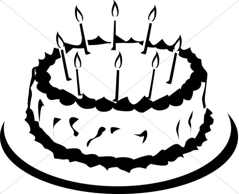 Simple Black And White Birthday Cake Church Birthday Clipart