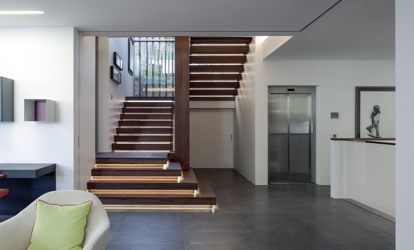 Creative Ways To Light Your Stairs — Mint Lighting Design | Staircase Outside House Design | Curved | Modern | Cool | Residential | Up Balcony