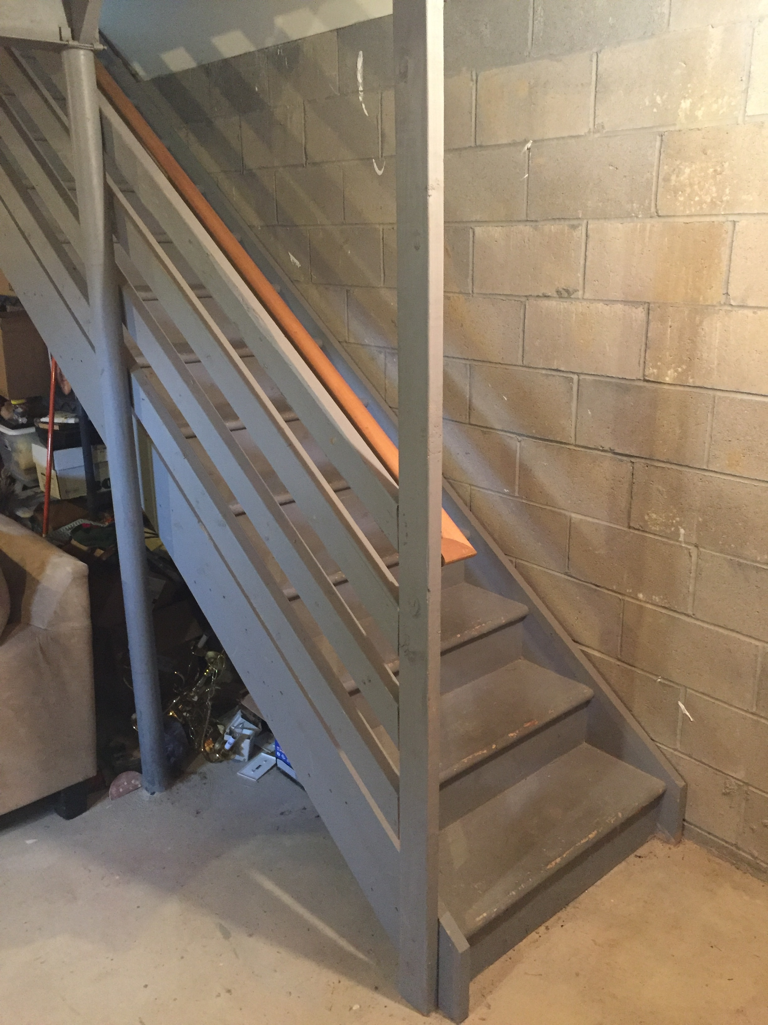 Staircase Remodel Diy Basement Stair Transformation — Revival | 2X4 Railing For Stairs | Solid Wood | 6 Foot | Stairway | Temporary | Natural Hardwood