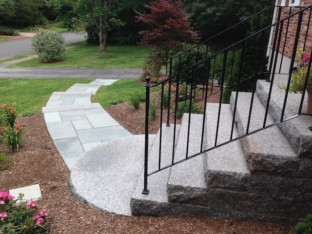 Entrances And Steps Landscaping In Ma — Natural Path Landscaping   Front Stairs Designs With Landings   Small Space   Flared   Architectural   Exterior   Curved