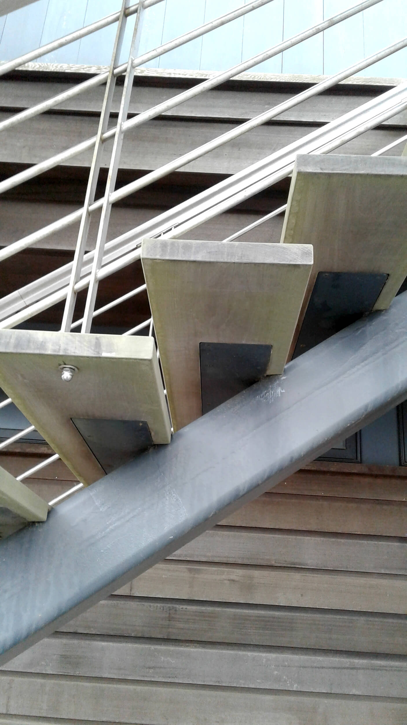 Architectural — Wellfleet Steel Works   Tubular Design For Stairs   Finished   Minimalist   Decorative Wood Railing   Contemporary   Home Tower