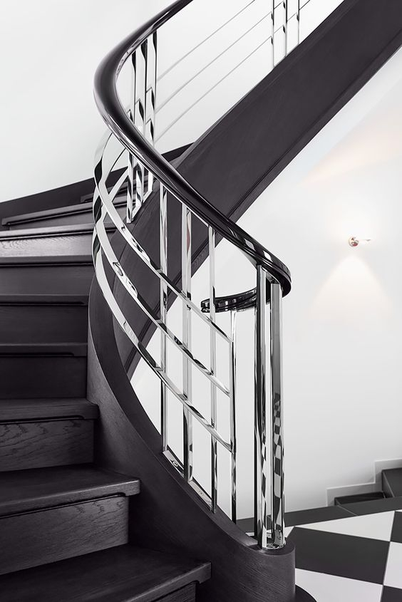 50 Amazing And Modern Staircase Ideas And Designs — Renoguide   Black And White Stairs Design   Farmhouse   Photography   Concept   Disappearing   Grey Background