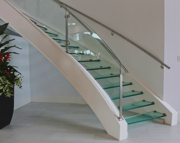 Houston Stair Company Inc | Steps Railing Designs With Glass | Terrace Staircase | Tempered Glass | Indoor | Crystal | Small Space