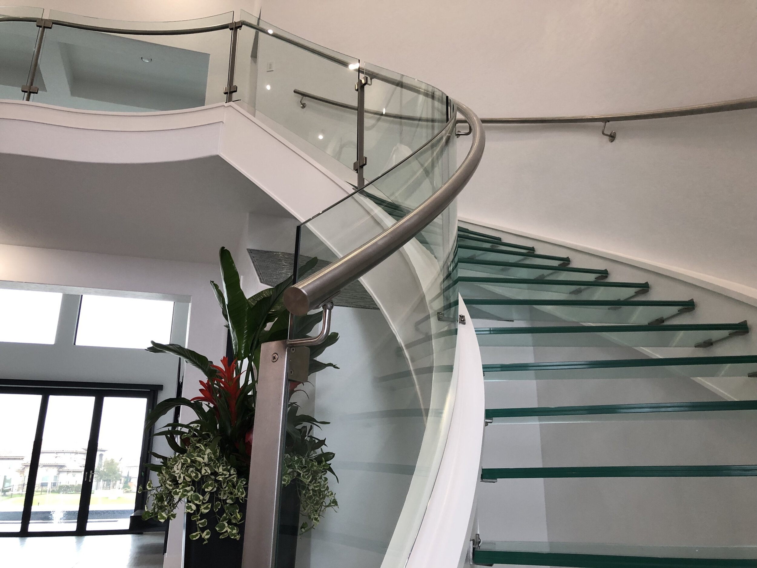Houston Stair Company Inc   Glass Stair Rails And Banisters   Photo Gallery   Perspex   Thick Solid Oak Stair   Mirror   Stair Price