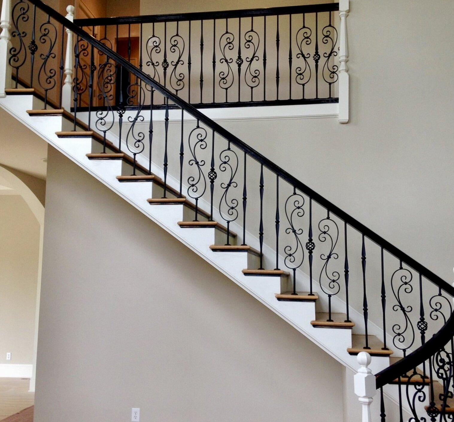 Wrought Iron Balusters Charlotte Nc Stair Railings | Iron Railing With Wood Handrail | Stair Systems | Stair Parts | Metal | Stair | Staircase