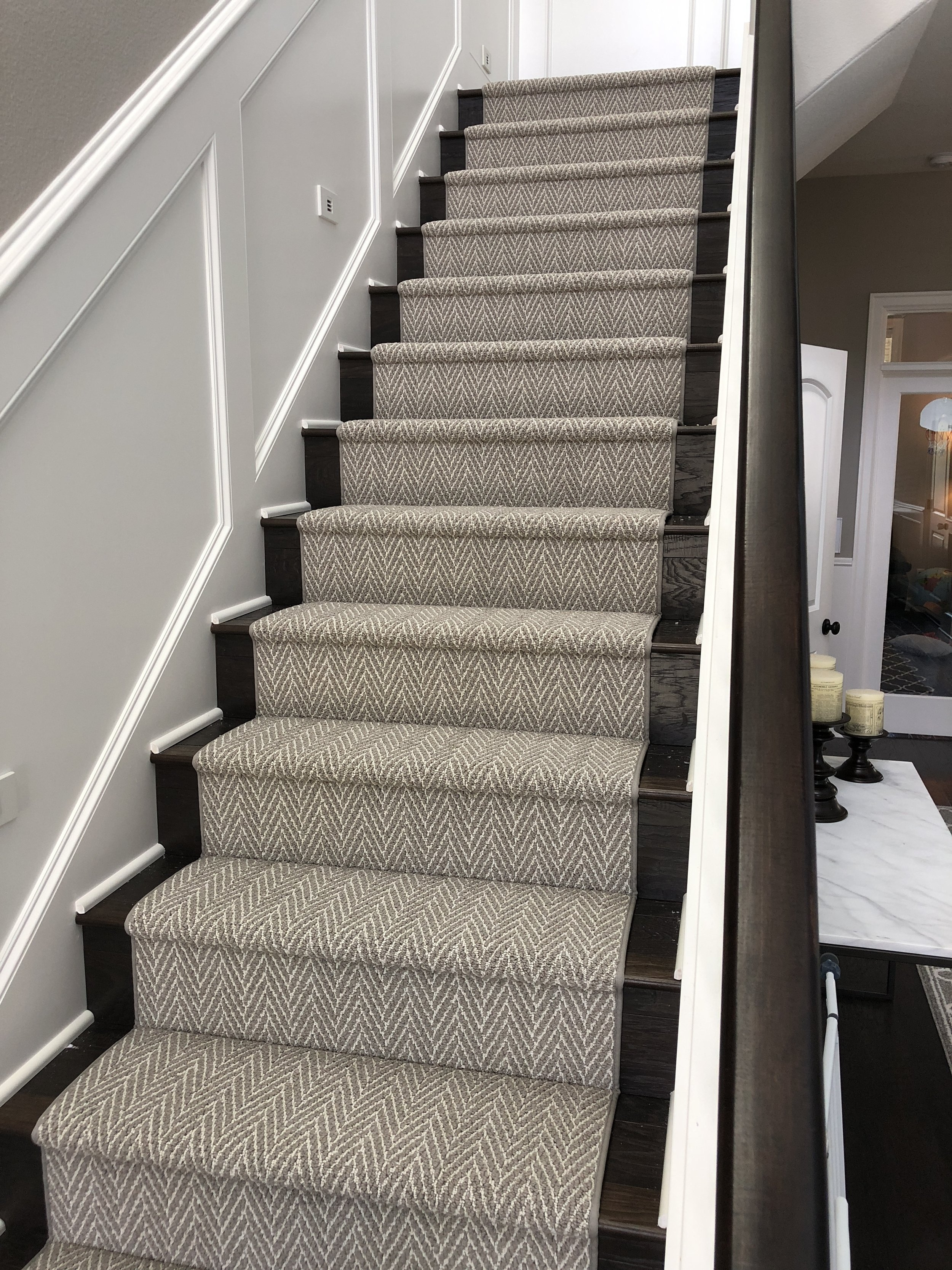Carpet Flooring Installations Gallery — Koeber S Interiors   Carpet On Stairs Only   Concept   Line Carpet Staircase Double   Pinstripe Grey   Grey   Wood