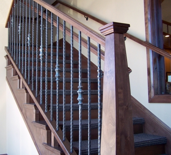 Wood Iron Baluster Combinations — Titan Architectural Products | Iron And Wood Railing | Modern | Brown | Front | Horizontal | Craftsman