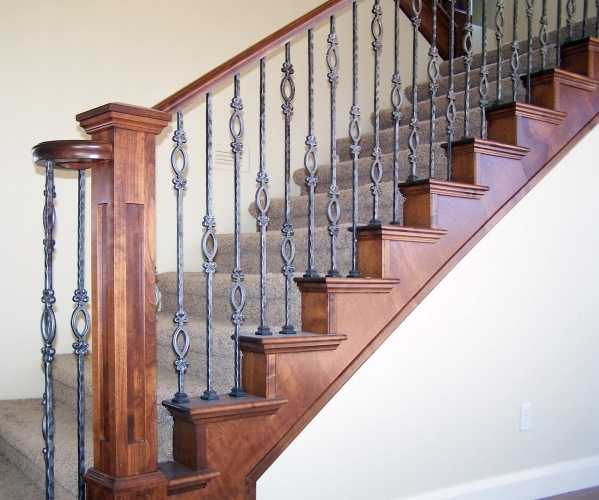 Wood Iron Baluster Combinations — Titan Architectural Products | Wood Handrail With Iron Balusters | Ash Gray | Ole Iron | Upstairs | Wrought Iron | Low Profile