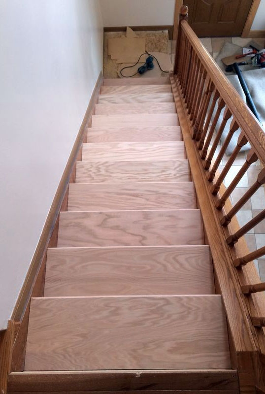 Diy Stair Makeover Carpet To Hardwood — Schooley Caldwell | Hardwood Steps For Stairs | Modern White Oak Stair | Cover | Iron Baluster | Unfinished | Staircase