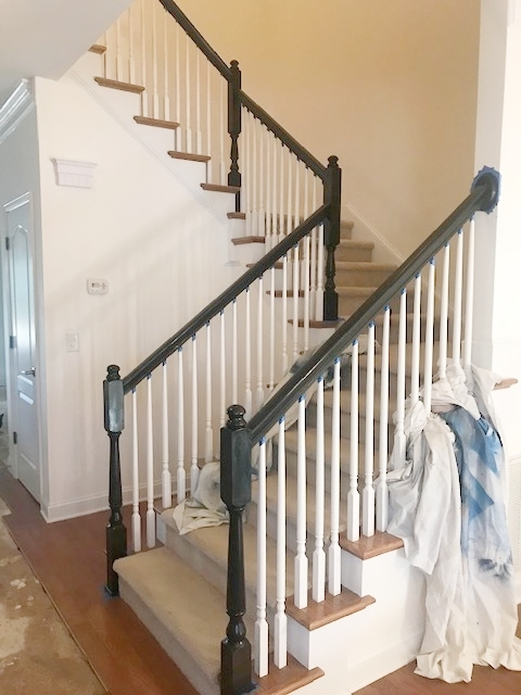 Stained Basic Oak Banisters Classic Black — Styled By Lauren Mccombs | Black Banister With White Spindles | Brazilian Cherry Stair | Victorian | Traditional Home | Iron Spindle White Catwalk Brown Railing | Gray