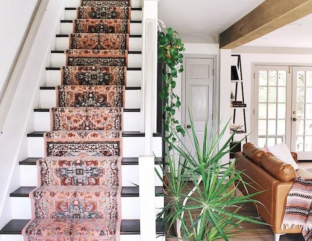 Diy Stair Runner Tutorial — House On A Sugar Hill | Cutting Carpet For Stairs | Carpet Tiles | Carpet Runner | Stair Tread | Wooden Stairs | Stair Runner