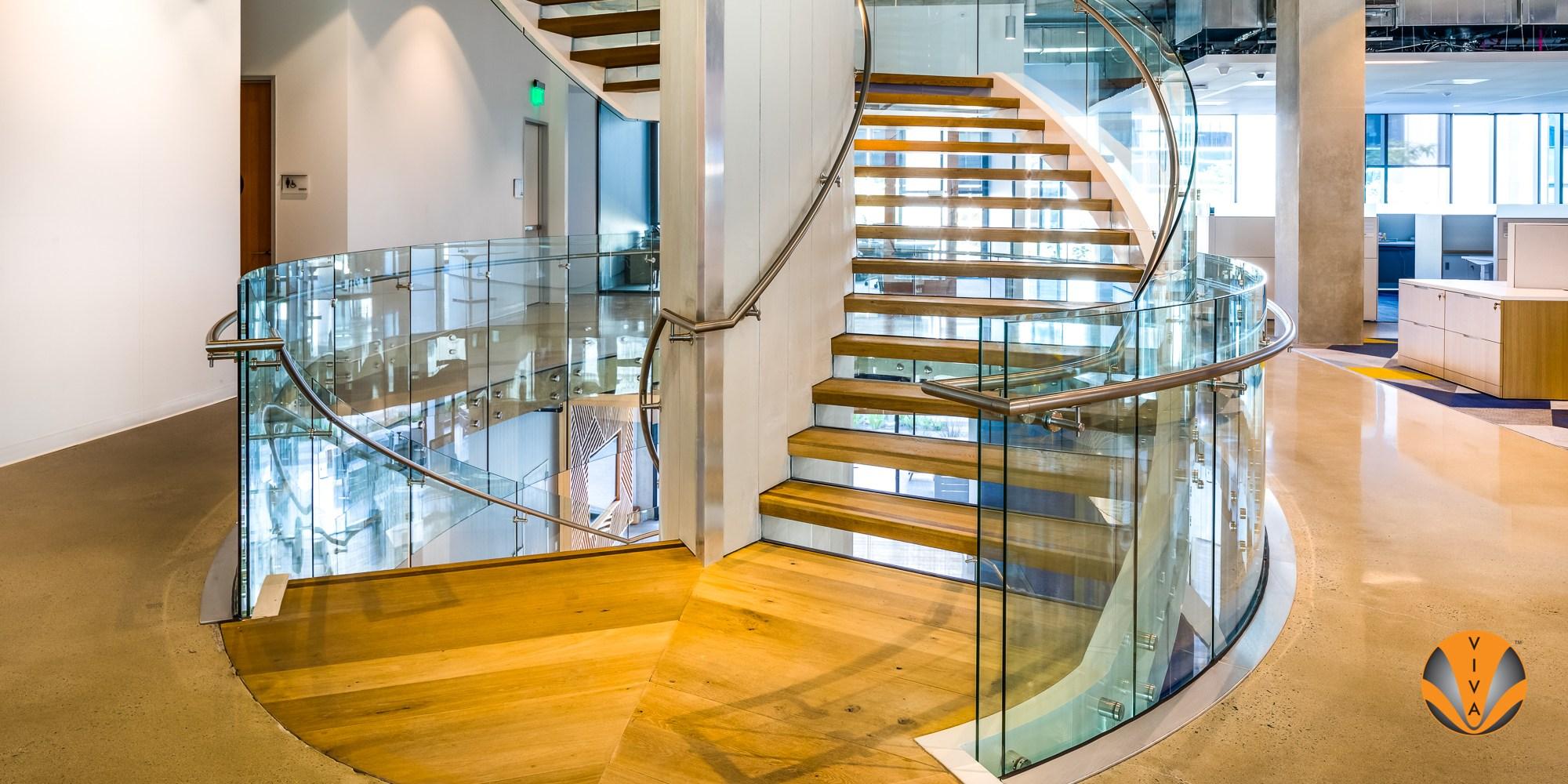 Viva Railings — Architectural Insider Llc | Curved Glass Staircase Railing | Half Circle | Aluminium | Tuffen | Interior Modern Glass | Stone Glass