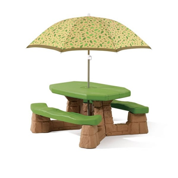 Naturally Playful Picnic Table with Umbrella   Step2 Step2 Naturally Playful Picnic Table With Umbrella