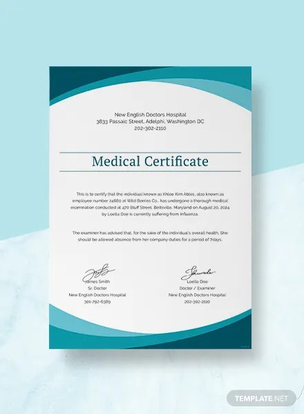 Free Certificate Templates   Download Ready Made   Template net Sample Medical Certificate from Doctor Template