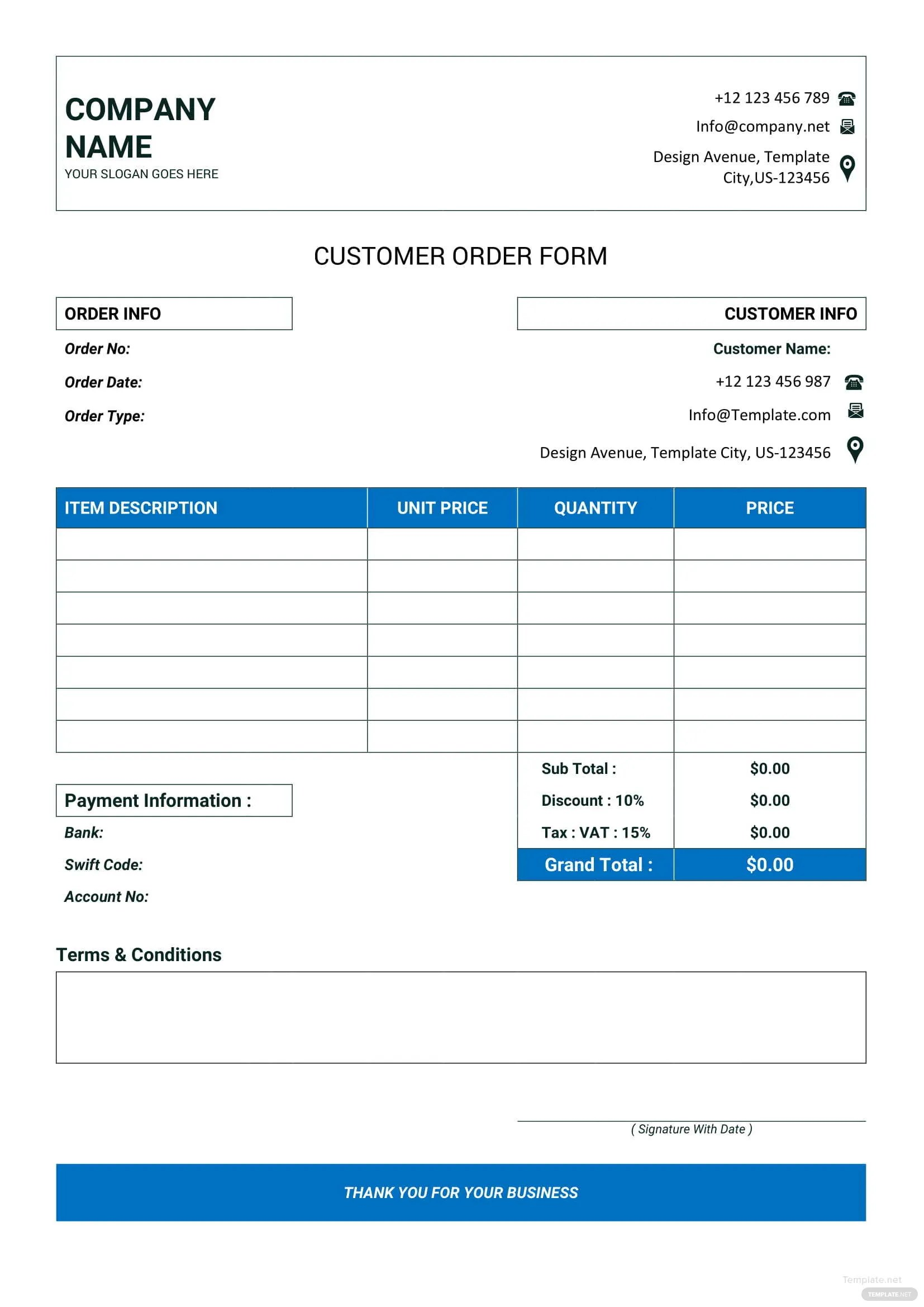 Template Shirt Editable Order Form Blank T