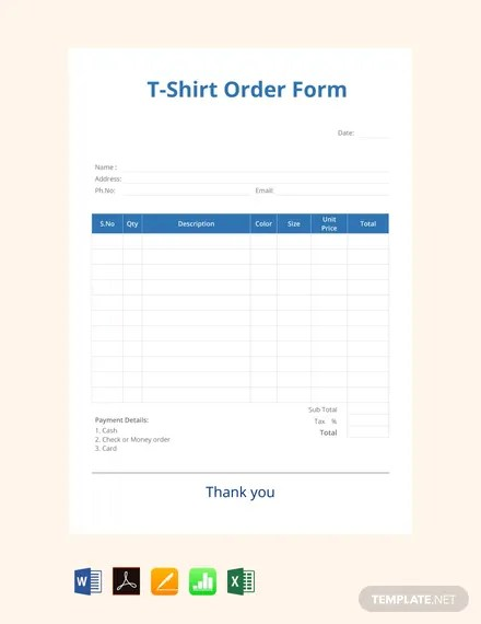 Word Microsoft Shirt Order Template Form T