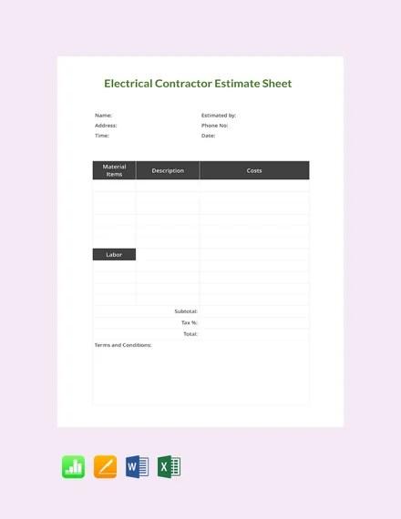 Electrician Estimate Template