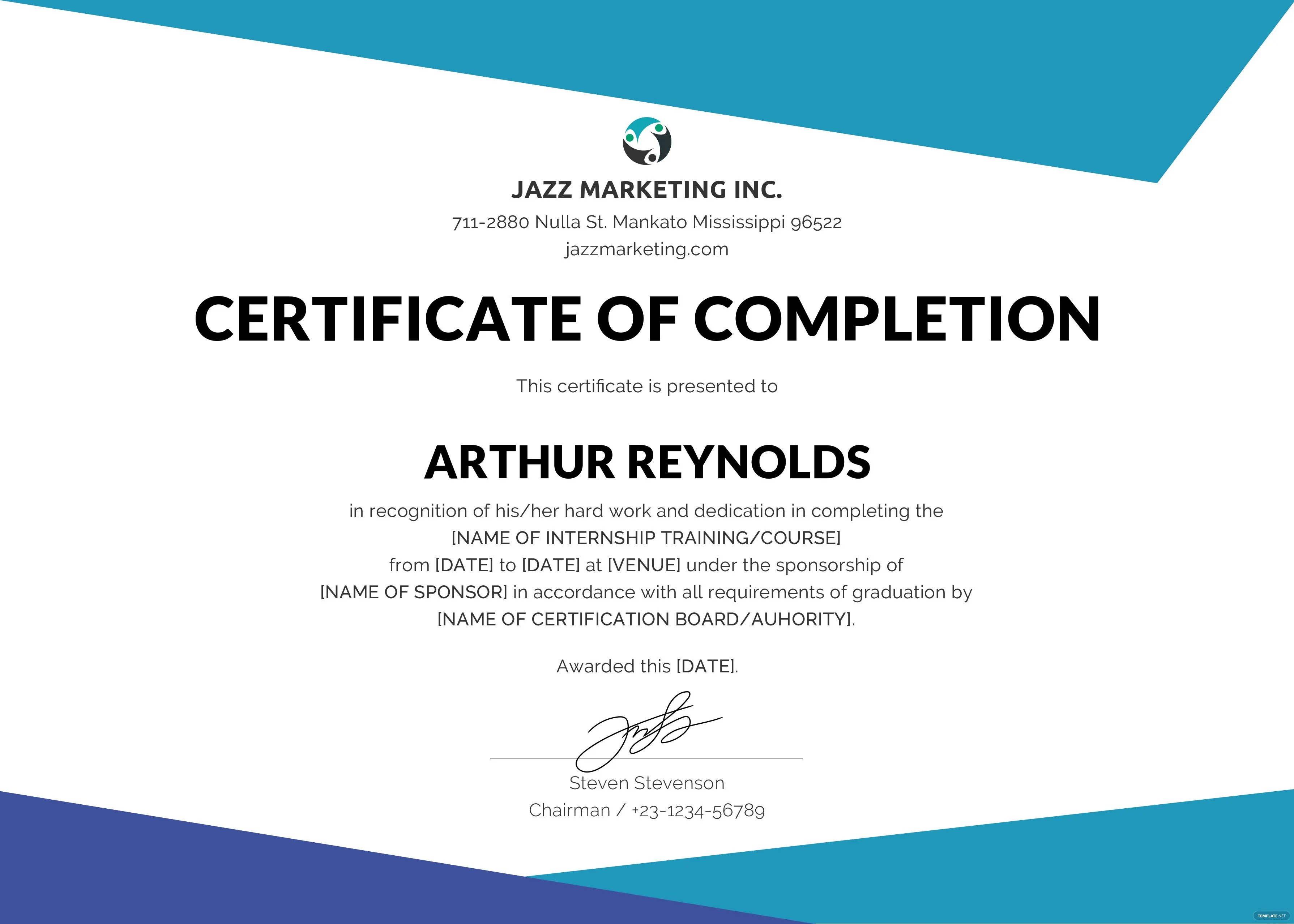 Free Course Completion Certificate Template in Adobe ...