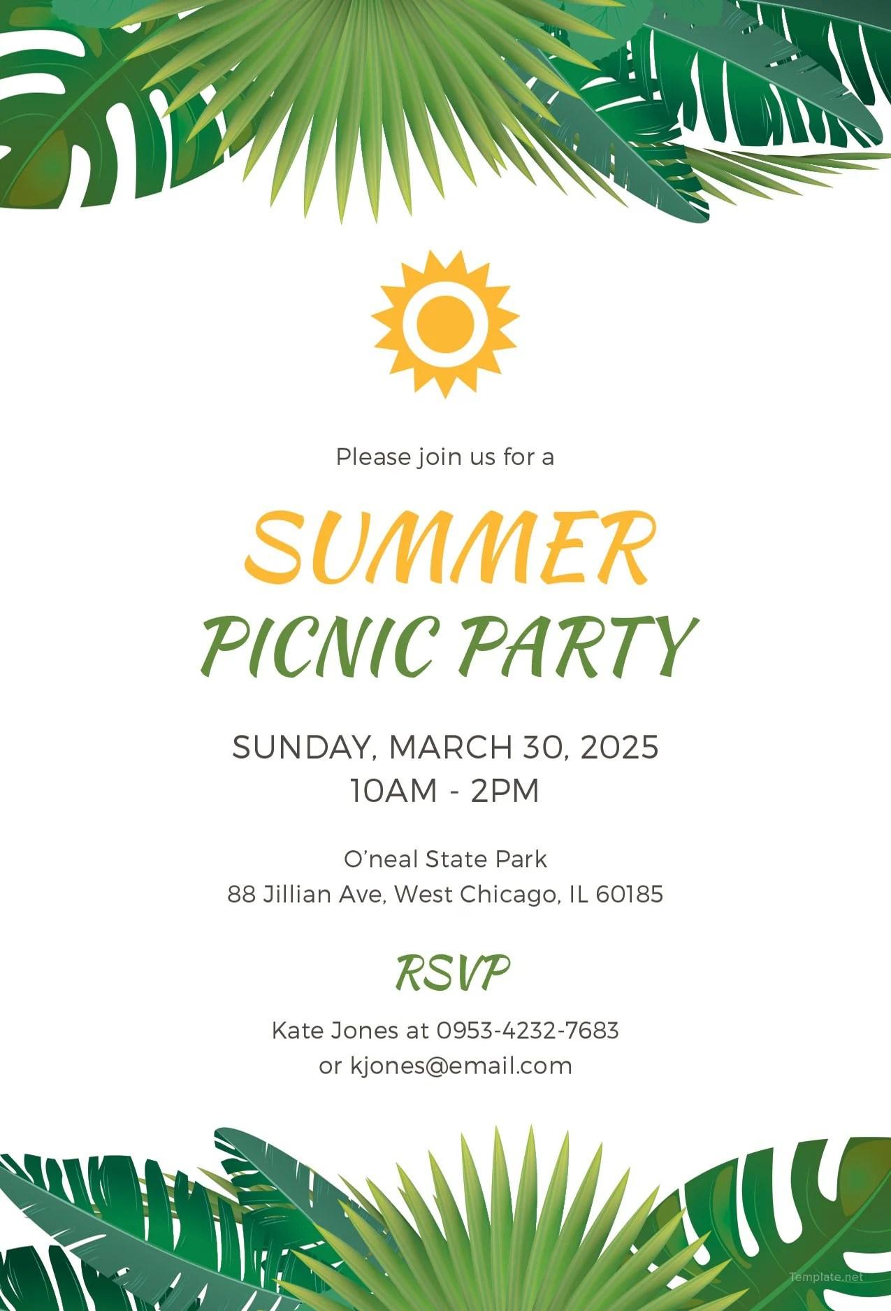 Reunion Picnic Invitations