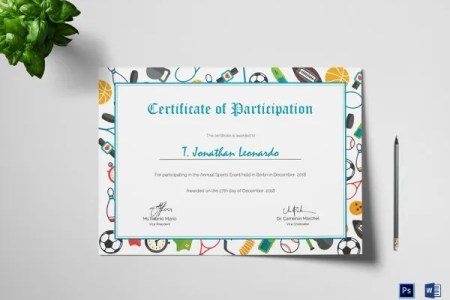 58  Printable Certificate Templates   Free PSD  AI  Vector  EPS     Elegant Sports Participation Certificate Template