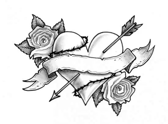 Drawings Roses And Hearts Love Them