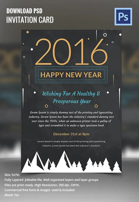 28  New Year Invitation Templates     Free Word  PDF  PSD  EPS     Happy New Year Chalkboard Invitation Template