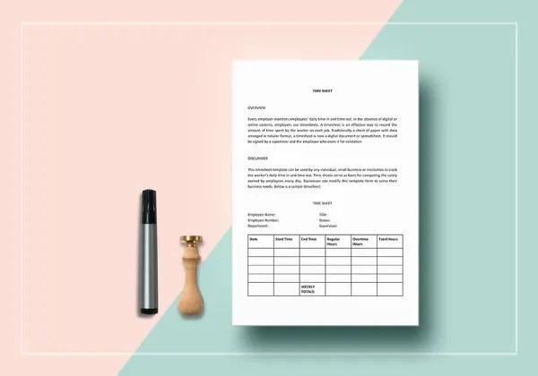 60  Sample Timesheet Templates   PDF  DOC  Excel   Free   Premium     Time Sheet Word Template