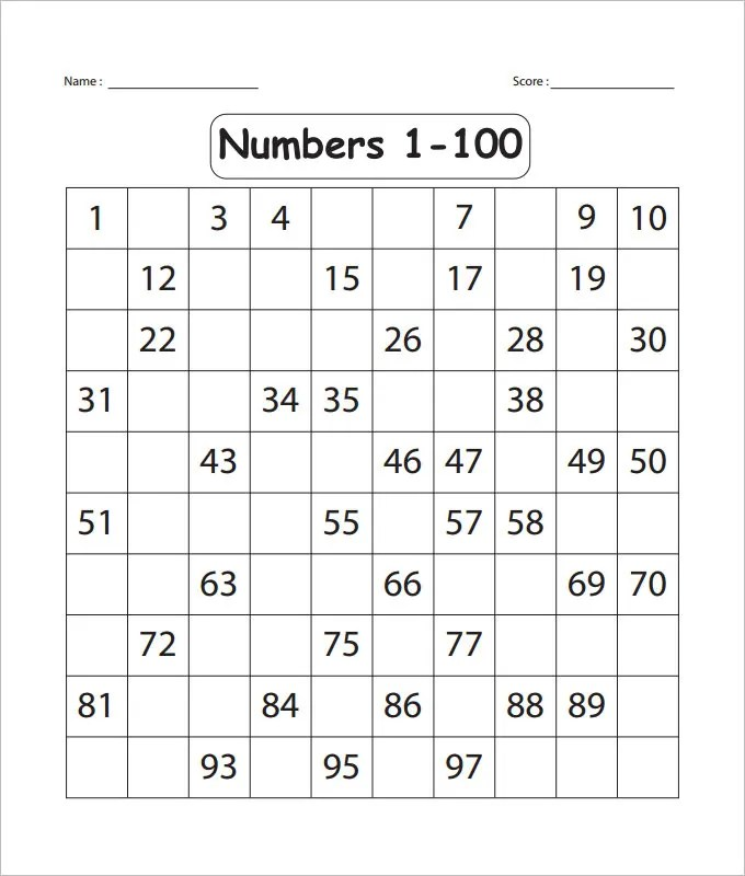 1 100 Numeral Worksheet