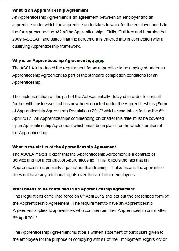 Contract Tattoo Sample Apprenticeship