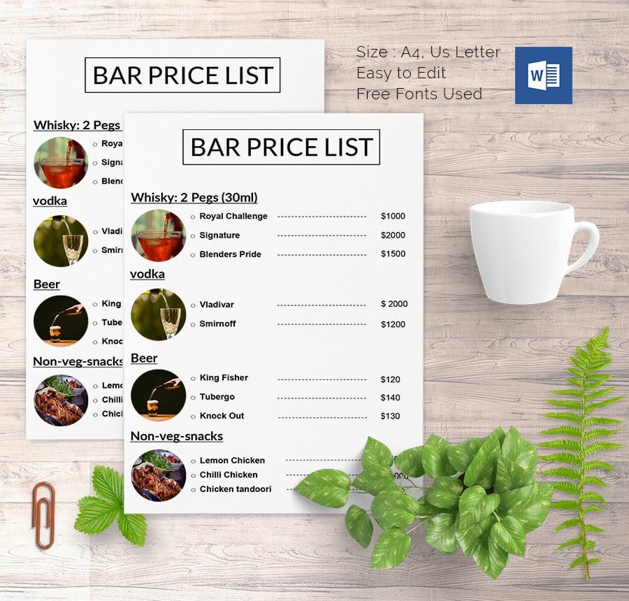 Sample Price List Template