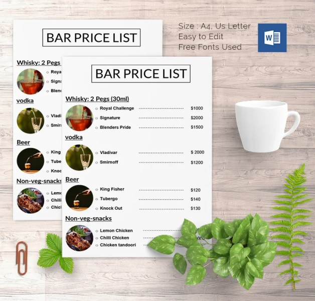 25  Price List Templates   DOC  PDF  Excel  PSD   Free   Premium     25  Price List Templates     DOC  PDF  Excel  PSD