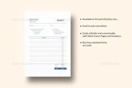 Receipt Template   199  Free Sample  Example  Format Download   Free     Blank Receipt Template in iPages