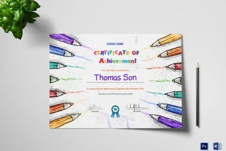 Preschool Certificate Template   16  Free Word  PDF PSD Format     Preschool Certificate of Achievement Design