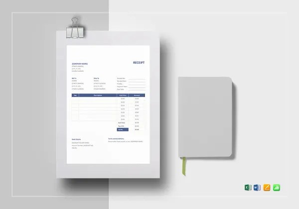 Receipt Book Template   15  Free Word  Excel  PDF Format Download     Sample Receipt Template Format