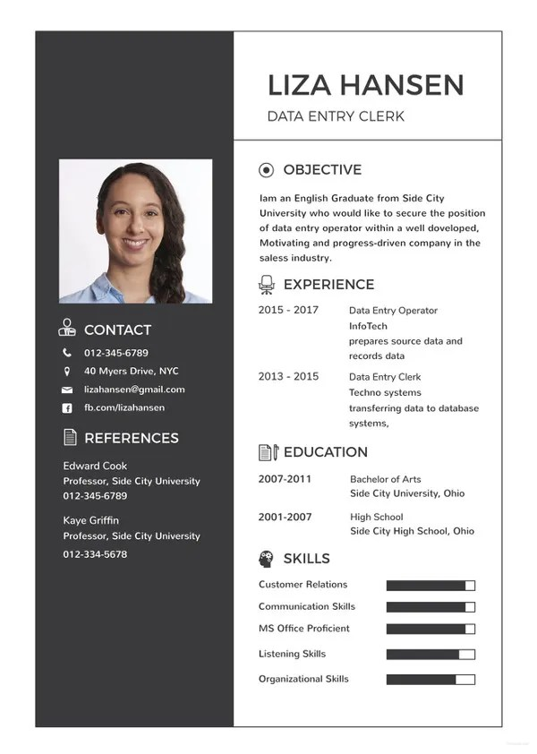 Data Entry Resume Template 13 Free Word Excel Pdf