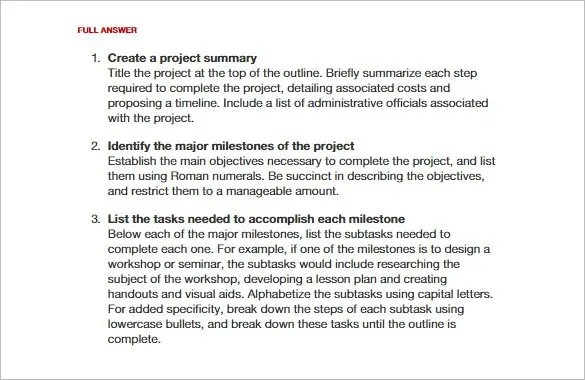 Science Project Outline Sample