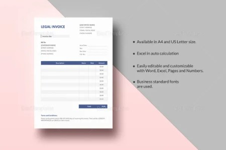 Google Invoice Template   25  Free Word  Excel  PDF Format   Free     Legal Invoice Template
