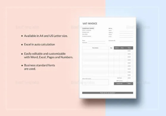 Tax Invoice Templates   16  Free Word  Excel  PDF Format Download     Simple VAT Invoice Template