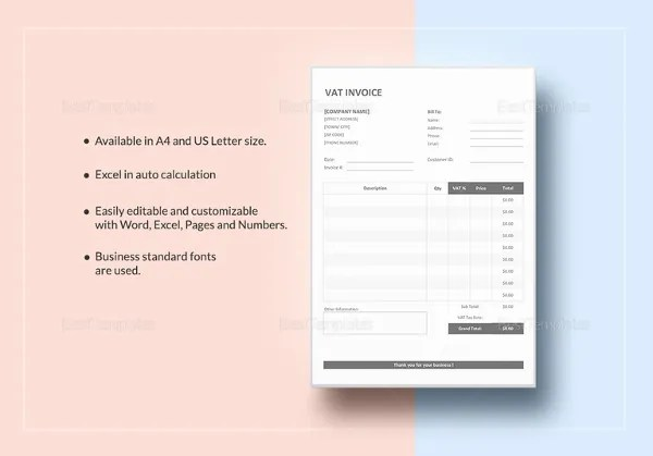 Invoice Template with Value Added Tax   14  Free Word  Excel  PDF     VAT Invoice Template