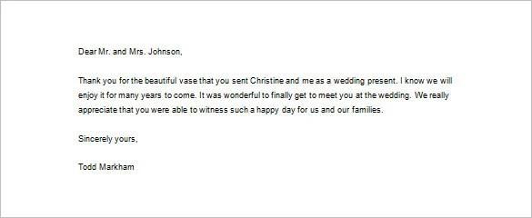 Wedding Monetary Gift Letter Sample