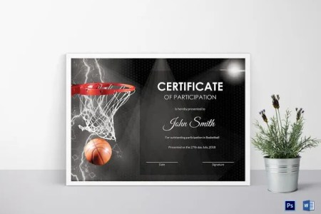 Certificate Template   45  Free Printable Word  Excel  PDF  PSD     Basketball Certificate of Participation Template