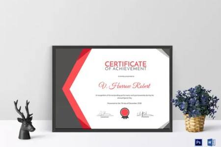 Certificate Template   45  Free Printable Word  Excel  PDF  PSD     Certificate of Sports Day Achievement