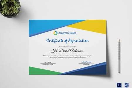 Certificate Template   45  Free Printable Word  Excel  PDF  PSD     Company Appreciation Certificate Template in Word