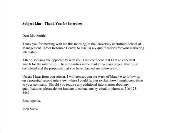 After Interview Response Letter