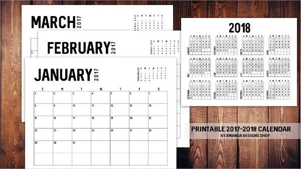 Calendar 2017 Monthly Printable