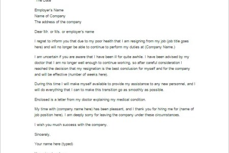 Sample resignation letter due to health problems best of simple sample resignation letter for family reasons doc sample templates resignation letter for family medical reasons how to resign from a job with sample expocarfo Gallery