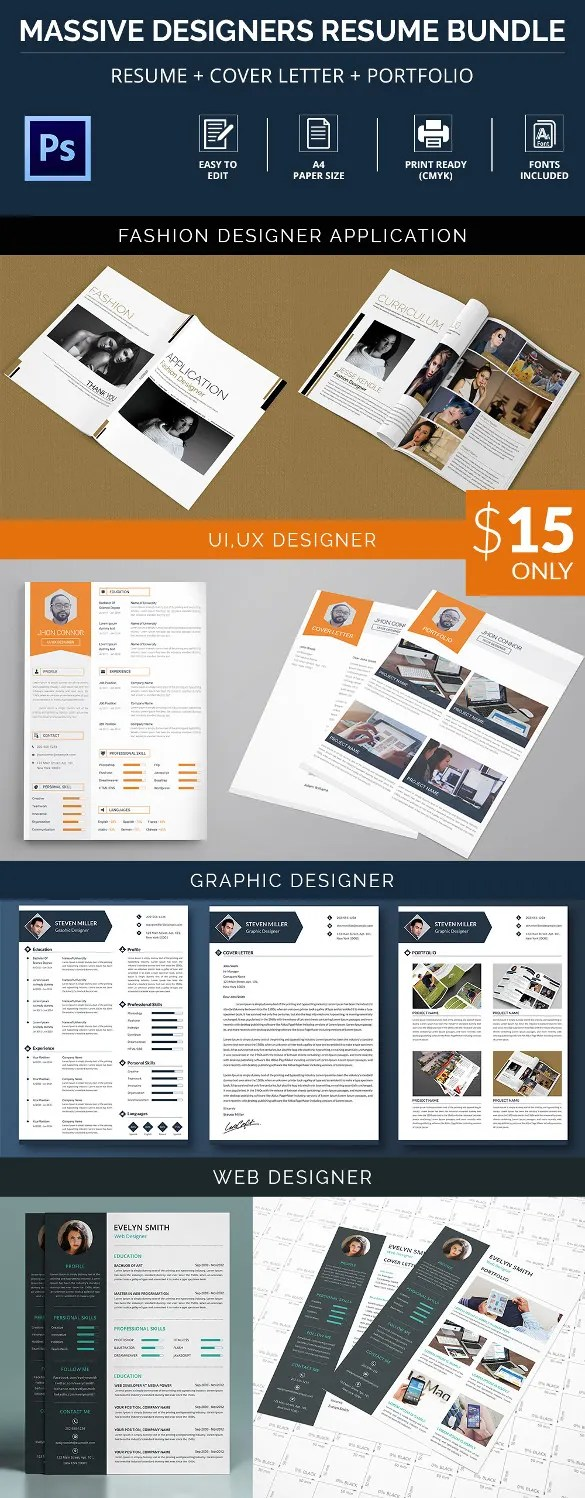 Resume Template     781  Free Samples  Examples   Format Download     Massive Designer Resume   Cover Letter   Portfolio Bundle     4 Templates