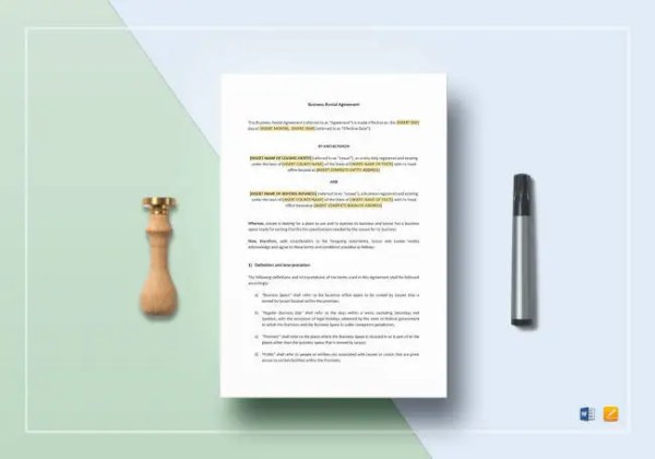 Free Rental Agreement Template   20  Free Word  PDF Documents     Business Rental Agreement Template